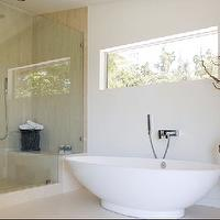 Brown Design - bathrooms - frameless glass shower, tub, manzanita branch,  Clean, modern bathroom with tub and frameless glass shower!
