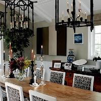Brown Design - dining rooms - pagoda lantern, black pagoda lanterns, square back dining chairs, black and white dining chairs,  Black lantern
