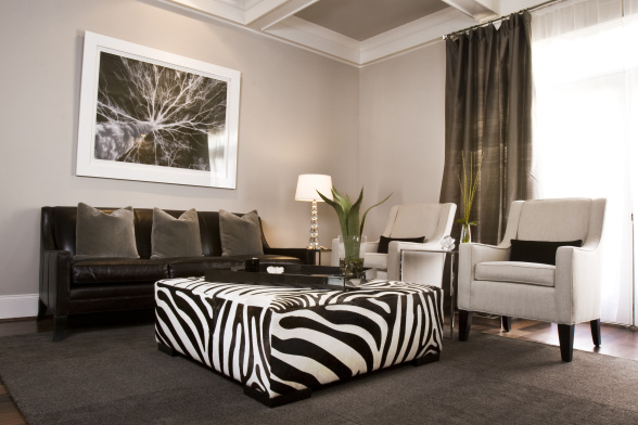 Zebra ottoman contemporary living room sherwin for Living room ideas zebra