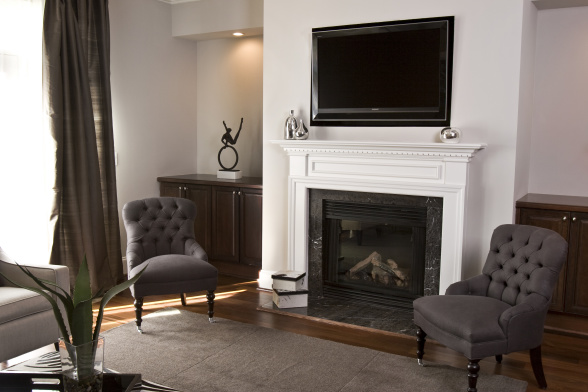 Fireplace TV Niche - Transitional - living room - Sherwin Williams