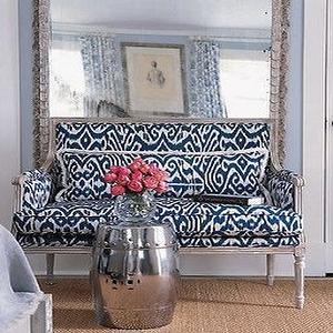 Elle Decor - entrances/foyers - french settee, ikat settee, ikat french settee, blue settee, blue linen settee, blue ikat french settee, upholstered settee, upholstered french settee,