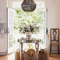 Elle Decor - kitchens - mirrored table, round mirrored table, mirror tiles table, french doors, gray chandelier, abalone shells chandelier, Jenny Chandelier,