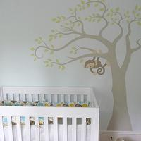 Becoming Home - nurseries - nursery, mural, monkey, blue, green, brown, nursery, blue walls, blue paint, blue paint color, blue nursery walls, blue nursery paint, blue nursery paint color, DIY Monkey Tree Mural,