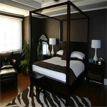 HGTV - bedrooms - brown canopy bed, brown walls, chocolate brown walls, zebra rug, chocolate brown bedroom, chocolate brown walls tray ceiling, bedroom tray ceiling,