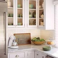 kitchens - subway tiles, white cabinets, celadon, gray, white green, kitchen,  Celadon Green  White & celadon green cottage kitchen design. Don't