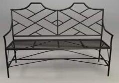Wrought Iron Black Chippendale Bamboo Bench