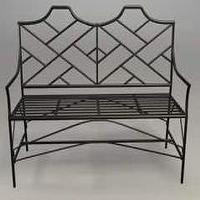 Seating - Wrought Iron Black Chippendale Bamboo Bench - Wrought Iron Bench