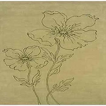 Candice Olson Rugs, Candice Olson Floral Sketch Rug Pale Green, CO36, CO36
