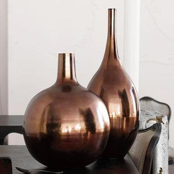 Decor/Accessories - accessories: brushed metal vases - bronze at brocadehome.com - vases, vase