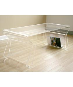 Tables - Adair Acrylic Coffee Table from Overstock.com - coffee table, table, acrylic, magazine holder