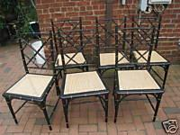 SIX 6 Hollywood Regency Faux Bamboo Dining Room Chairs