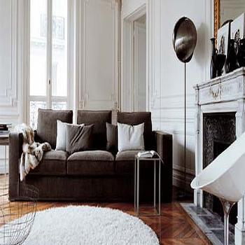 Brown Couch, Transitional, living room