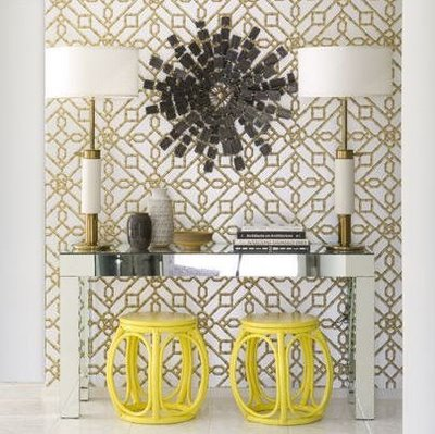 entrances/foyers - copper gold yellow garden stools silver mirrored Parson desk console table copper modern lamps black metal sunburst art gold copper silver metallic geometric wallpaper entrance foyer mirror mirrored table