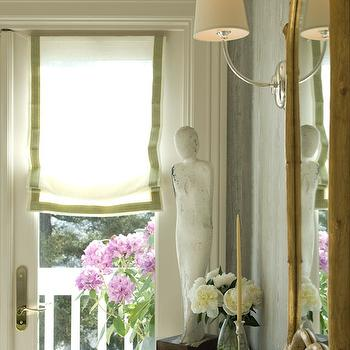 Benjamin Dhong - entrances/foyers - roman shade, grosgrain roman shade, french doors, bamboo mirror, vendome sconce, gold mirror, french door s window treatments, green grosgrain roman shade,