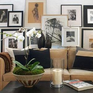 David Jimenez - living rooms - photo collage, picture ledge, picture ledge over sofa, picture ledge above sofa, art over sofa, camel colored sofa, camel sofa, camel colored couch,