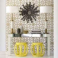 David Jimenez - entrances/foyers - copper, gold, yellow, garden stools, silver, mirrored, Parson, desk, console, table, copper, modern, lamps, black, metal sunburst, art, gold, copper, silver, metallic, geometric, wallpaper, entrance, foyer, mirror, mirrored table, metallic wallpaper, gold metallic wallpaper, silver metallic wallpaper, gold and silver wallpaper, gold and silver metallic wallpaper, silver and gold metallic wallpaper,