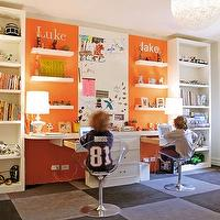 Nathan Egan - boy's rooms - ikea, bookshelf, bookshelves, white, floating, desks, floating shelves, orange, accent, walls, paint color, yellow, white, striped, roman shade, gray, checkers, wool, rug, lucite, acrylic, stools, chrome, base, boy's room, office, floating desks, floating desk, built-in desks, dual desks,