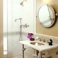bathrooms - calcutta, marble, top, bathroom, sink, chrome, pedestal, legs, chrome, round, tilted mirror, green, ivory, glass, tiles, tan beige gold walls, frameless, glass, shower, bathroom,