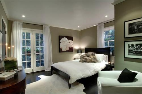 HGTV - bedrooms - White Cowhide Rug, taupe paint, taupe paint colors, taupe paint color, taupe walls, black bed, black platform bed, white cowhide rug, white curtains, white drapes, french doors, bedroom french doors,