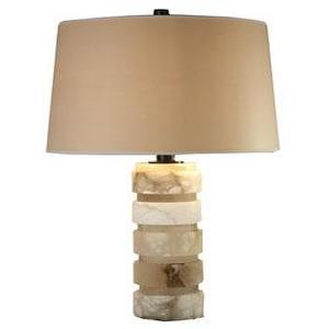 Lighting - ROUND CHUNKY STACKED TABLE LAMP - alabaster, lamp