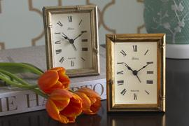 Decor/Accessories - Bamboo Desk Clock $28-Room Service Home - bamboo, silver, gold, alarm clock