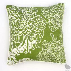 Pillows - Thomas Paul Chrysanthemums Cotton Twill Pillow - green, pillow, Thomas Paul, chrysanthemums