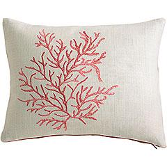 Pillows - Pier 1 Imports embroidered coral pillow - coral, pillow