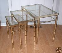 Tables - Eames Era Hollywood Regency Faux Bamboo Nesting Tables - eBay (item 310064879148 end time Jul-13-08 11:00:32 PDT) - stacking tables, accent tables, tables