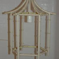 Lighting - PAGODA CHANDELIER BAMBOO LAMP HOLLYWOOD REGENCY EAMES - eBay (item 380041140287 end time Jul-06-08 16:39:53 PDT) - chandelier, faux bamboo