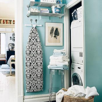 Tiffany Blue Laundry Room, Contemporary, laundry room, Benjamin Moore Waterfall, Domino Magazine