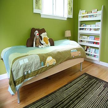 Apartment Therapy - boy's rooms - green walls, green paint colors, green wall paint, kids bed, kids bookshelf,  Green walls, modern toddler bed