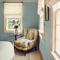 Domino Magazine - bedrooms - chair, upholstered, window treatments, table, blue walls, blue paint, blue paint color, blue bedroom walls, blue bedroom paint, blue bedroom paint color,