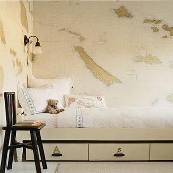Kerry Joyce - boy's rooms - world map wallpaper, vintage world map wallpaper, vintage map wallpaper,  Adorable world map wallpaper twin bed,