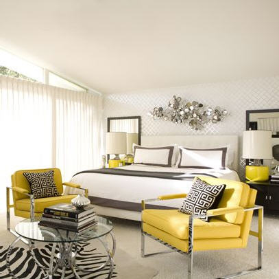 David Jimenez - bedrooms - white, headboard, yellow, modern, chrome, chairs, glass, top, chrome, modern, coffee table, black, nightstands, yellow, lamps, silver, abstract, wall art, white walls, white, bedding, gray, ribbon, border, trim, black, white Greek key, Jonathan Adler, pillows, cowhide, zebra rug, yellow, black, bedroom, yellow and gray bedroom, gray and yellow bedroom, gray and yellow bedrooms, yellow and gray bedroom design, gray and yellow, yellow and gray,