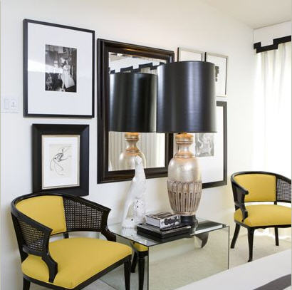 entrances/foyers - yellow black velvet cane chairs silver lamp black leather shade mirrored block table white cornice box black ribbon border trim white drapes entrance foyer entry