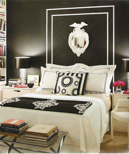 bedrooms - painted headboard, black and white headboard, black and white bedroom, black and white blanket, black and white bedding, black and white hotel bedding, black lamp shades, white nightstands,