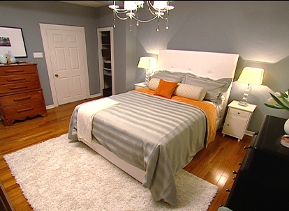 Bedding - Contemporary - bedroom - Benjamin Moore Puritan Grey - HGTV