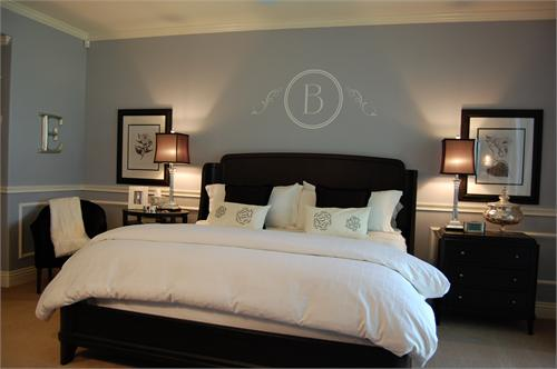 wall decal, Blue bedroom with wainscoting! Dark brown furniture with