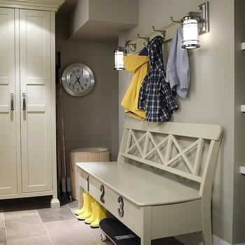 Sarah Richardson Design - laundry/mud rooms - mudroom design, mudroom cabinets, mudroom storage, mudroom bench, gray mudroom, gray mudroom, mudroom bench,