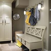 Sarah Richardson Design - laundry/mud rooms - mud, room, mudroom, mudroom design, mudroom cabinets, mudroom storage, mudroom bench, gray mudroom,