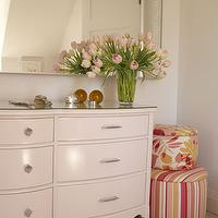 Sarah Richardson Design - girl's rooms - white, dresser, mirror, pink, yellow, white, striped, ottoman, cream dresser,  The Girl's room, the