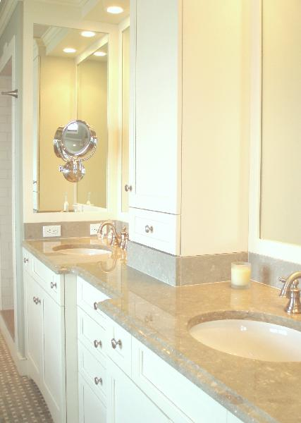 Cream marble counters transitional bathroom benjamin for Benjamin moore linen white kitchen cabinets