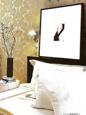 Bedroom wallpaper gold