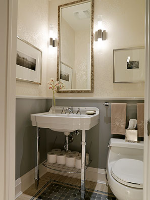 Sarah Richardson Bathroom Design on Bathrooms   Pedestal  Sink  Bone  In Lay  Mirror  Chair  Rail