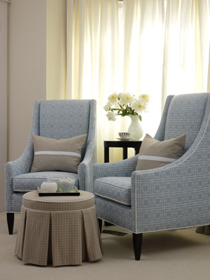 bedrooms - blue white upholstered geometric pattern curved arm chairs ottoman  gray lumbar pillows  Thanks to Sarah's House. Sarah Richardson.