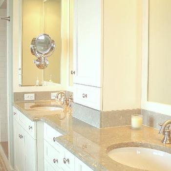 Cream Marble Counters, Transitional, bathroom, Benjamin Moore Linen White, Teresa Meyer Interiors