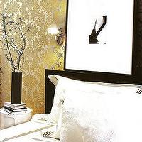 Elle Decor - bedrooms - damask wallpaper, yellow damask wallpaper, metallic wallpaper, yellow metallic wallpaper,  Gold metallic damask wallpaper,