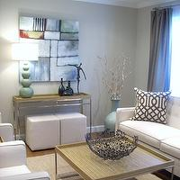 living rooms - grant beige, Barbara Cosgrove Gourd Lamp, West Elm Ottoman, Horchow Abstract Canvas Art, Z Gallerie Trellis Pillow, West Elm Jute Rug, Arhaus Sofa, Taupe Dupioni Silk Drapes,