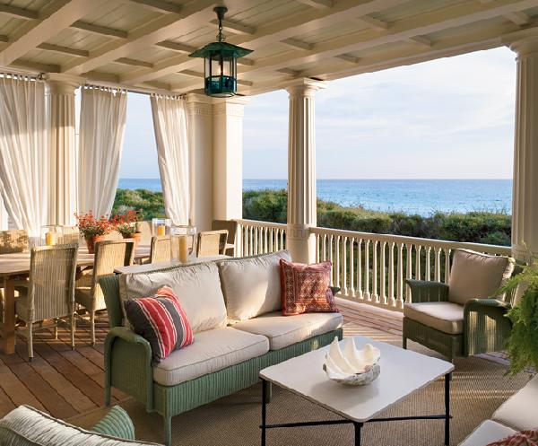 Architectural Digest - decks/patios - patio, deck, table, lantern, drapes,  What a beautiful  covered deck, for relaxing, and dinning.Love the