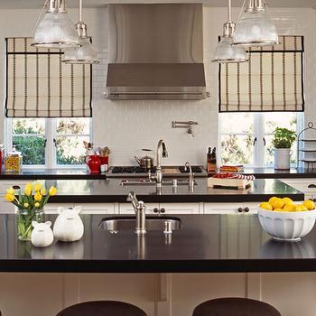 Kitchens Black And White Roman Shades Design Decor